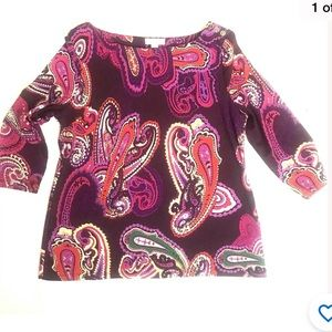 Charter club paisley blouse stretch pink purple